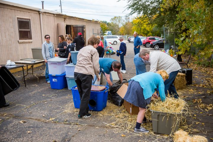 Making cat shelters at 2017 Community Cat Day