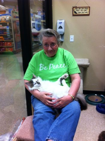 Sister Nancy giving cuddle time to rescues!