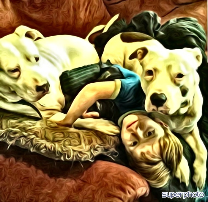 Roxy n Nella. Previously chained, love children.