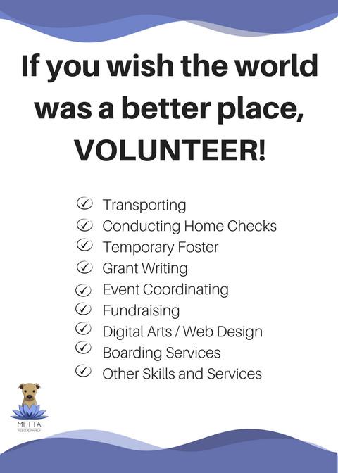 Volunteers Needed! Open your heart & help