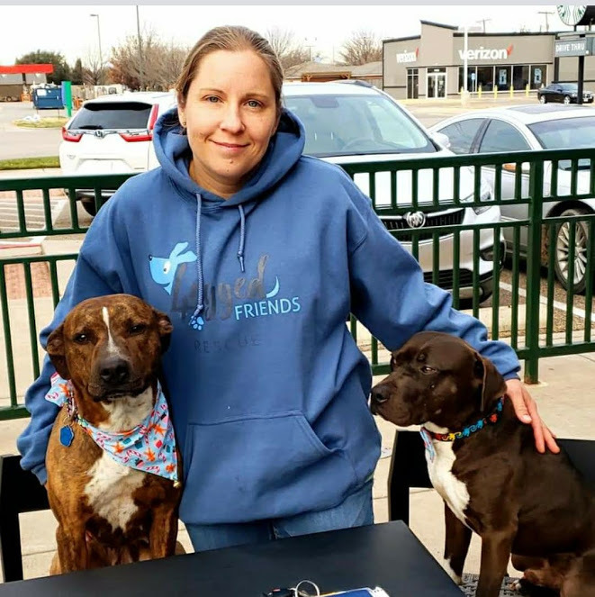 Sarah  taking our rescues to Starbucks